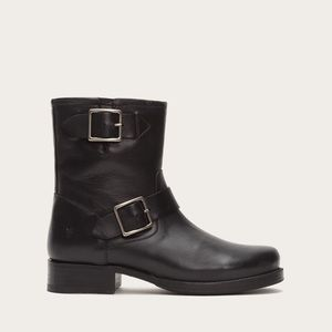 Frye Vicky Engineer Black Moto Ankle Boots 6.5